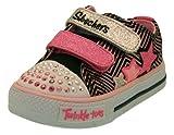 Girls Skechers Twinkle Toes Shuffle Triple Up Trainers Black