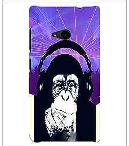 PrintDhaba Funny Chimpanzee D-3976 Back Case Cover for MICROSOFT LUMIA 535 (Multi-Coloured)
