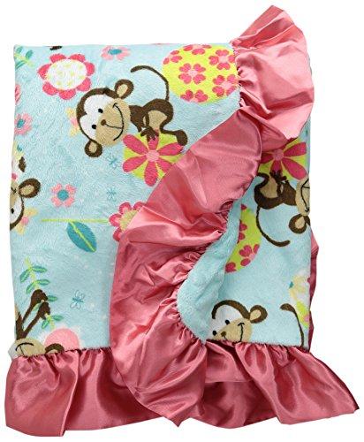 """My Blankee Funky Monkey Minky Aqua w/ Minky Dot Aqua Baby Blanket, 30"""" x 35"""""""