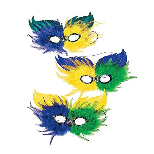 Two Tone Mardi Gras Feather Half Masks (1 dozen) - Bulk [Toy]