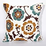 Brown & Blue Flower Embroidered Throw Pillow Covers for Couch, Cushion Cover 18x18inches By Uniifurn