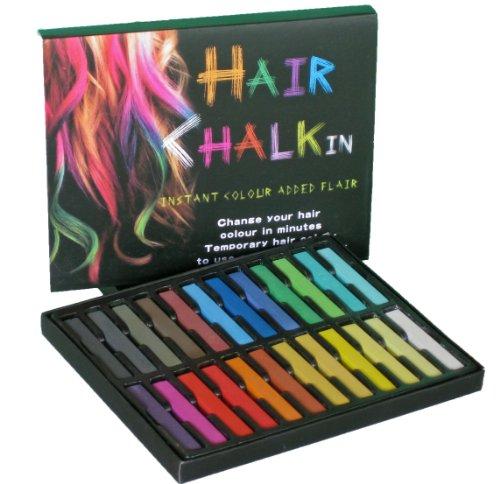 大ブレイク中!HAIR CHALKIN 選べる 12色/24色 髪専用に開発された安心商品!! ヘアチョーク ヘアカラーチョーク  一日だけのヘアカラーでイメチェンが楽しめる!美容室のヘアカラーでは表現しづらい色も表現できます! 安心のAmazonセンターよりすぐ発送します。 (24色セット)