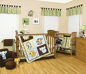 22 Pieces - Chibi Zoo Anime Trend Lab Baby Complete Nursery Ensemble Crib Bedding Set