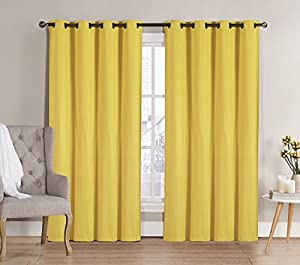 hlc me nicole solid thermal insulated blackout window curtain panels pair 90. Black Bedroom Furniture Sets. Home Design Ideas