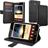eForCity Leather Wallet Case with Card Holder for Samsung Galaxy Note N7000/LTE SGH-i717 - Retail Packaging - Black
