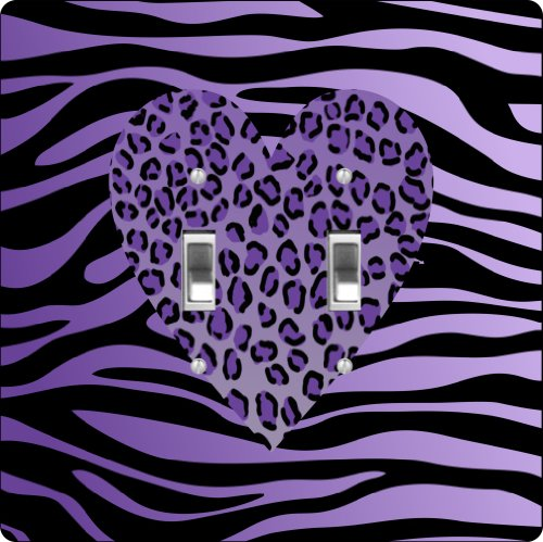Rikki Knighttm Purple Leopard Heart On Zebra Background Design Double Toggle Light Switch Plate front-619030