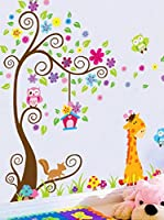 Ambiance Sticker Vinilo Decorativo Giant Tree, Flowers, Lion And Giraffe
