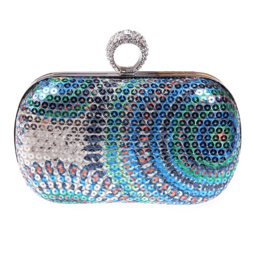 Fawziya Ring Clutch Purse Box Sequin Clutch Bag