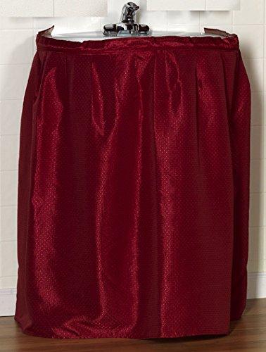 Carnation Home Fashions Lauren Dobby Fabric Sink Skirt, 54-Inch By 32-Inch, Burgundy