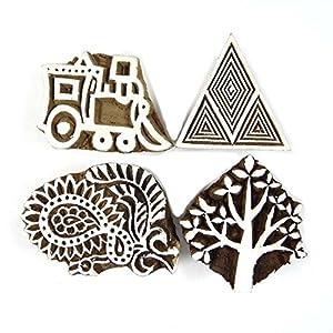 Timbres de textiles en bois indienne Lot de 4 Pcs impression Bloc de bois décoratif Stamp