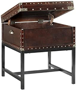 """Trunk 20"""" Square Side End Table, END, LUGGAGE BROWN"""