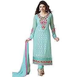 Fabtantra Womens Georgette Straight Unstitched Dress Material (10155 _Blue)