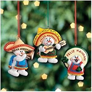 Amazon.com - 12 FELIZ NAVIDAD Snowman CHRISTMAS ORNAMENTS ...