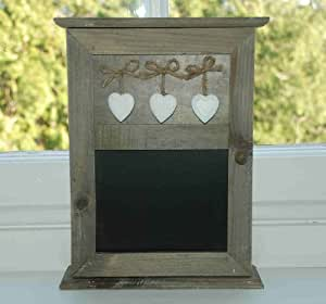 NATURAL WOODEN KEY BOX HOLDER WITH HANGING HEARTS AND CHALKBOARD