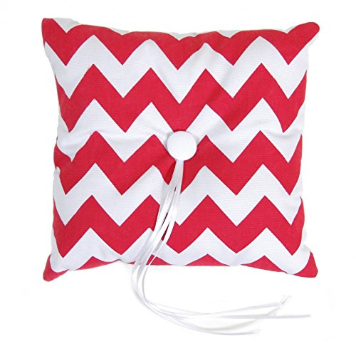 Koyal Wholesale Chevron Ring Bearer Pillow, 7-Inch, Red front-1011198