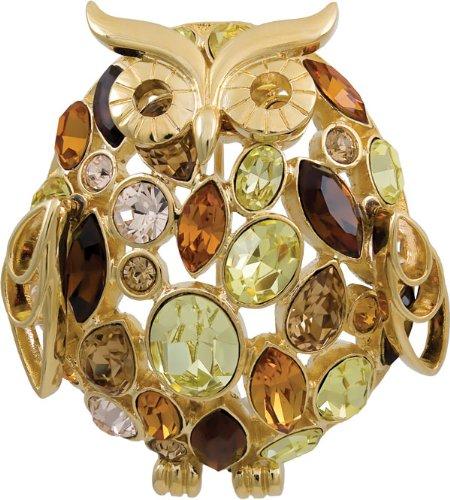Goldfarbene Eulen-Brosche mit Swarovski-Kristall Vogel Ebuni Damen Geschenk Schmuck günstig