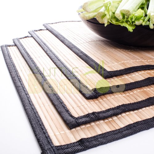 Bamboo Placemats Set of 4 – Everyday Use, Easy to Clean, High Quality Natural Bamboo With Black Border by The Little Bamboo