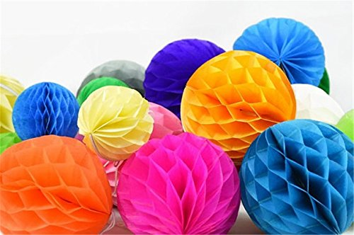 "SUNBEAUTY 2""(5cm) Pack of 40 Small Decorative Tissue Paper Honeycomb Balls Assorted Colors for Wedding PArty BIrthday Events Decor"