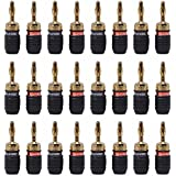 Soundsoul Quicklock 24k Gold Banana Connectors for Easy Self Crimping Terminations 12-pairs