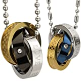 """Eternal Love Stainless Steel Interlocking Triple Rings Pendant Necklace Couples Set 18"""" and 24"""""""