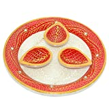 MALIYAS Embossed Painted Marble Puja Tali -(L X B X H: 12 X 12 X 9 Cms, Multi-Colour)