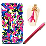 Vandot 3 in1 Set for Samsung Galaxy S3 Mini I8190 PU Leather Cover Leather Case Elegant Bling Shining gloss colored Flip Book Style Protective Leather Cover Skin Protection Case shell Cover Pink Anti dust plugs + Pink touch pen -Geometric patterns