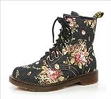 花柄 レースアップ ワーク ショート ブーツ 3cm フラット ヒール 滑り止め付 ラウンドトゥ 紐靴 22.5cm-25cm 黒 青 (ブラック, 22.5cm)