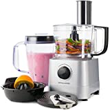 Andrew James Silver Food Processor With 1.8L Blender Jug With Shredding, Slicing And French Fry Blades And Citrus Juicer Attachment