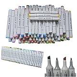 Basic 60-color Set Finecolour Sketch Marker Alcohol Based Ink with One Carrier Bag, Good Alternatives of Marker Set to Artist Beginner, Double Ended