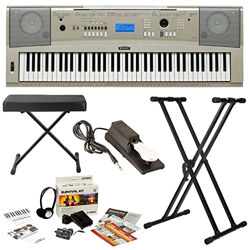 Yamaha YPG-235 76-Key Portable Piano w/ Knox Stand & Bench ,Sustain Pedal and Survivalkit (Includes Power Supply and 2 Year Warranty) (Ypg 235 Stand compare prices)
