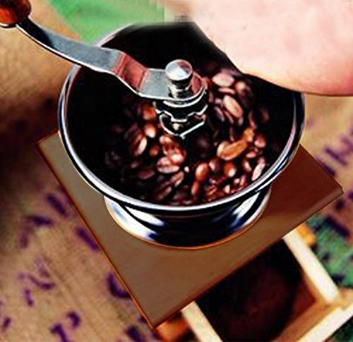 ReaLegend Wooden Manual Coffee Grinder Vintage Style Hand Coffee Mill Burr Coffee Grinder with Ceramic Hand Crank 4