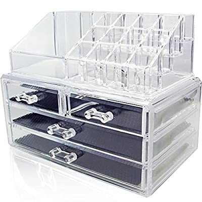 Amzdeal Clear Acrylic Makeup Box Cosmetic Organizer Holder Drawers Jewelry Storage