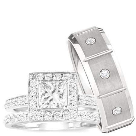 Wedding Ring set, His & Hers 3 Pieces 925 STERLING
