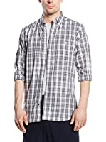 French Connection Camisa Hombre (Gris / Burdeos)