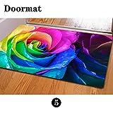 [FOR U DESIGNS]個性的な柄 ドアマット 滑り止め付き 保護マット doormat 約60CM*40CM 綺麗なバラ柄 マウスパッドとしてもピッタリ