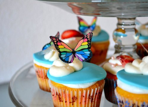 Edible Butterflies © - Small Rainbow Monarchs Set Of 24 - Cake And Cupcake Toppers, Decoration front-576916