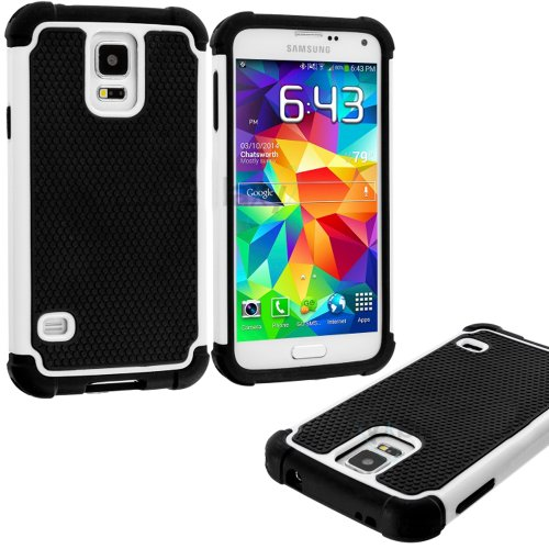 Mylife (Tm) Bright White And Black - Free Flex Series (2 Layer Neo Hybrid) Slim Armor Case For The New Galaxy S5 (5G) Smartphone By Samsung (External Rubberized Hard Shell Flex Piece + Internal Soft Silicone Flexible Bumper Gel)