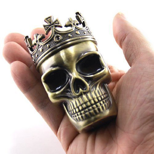 Cute Fab Detailed Crowned King Skeleton Skull Design Novelty 3 Stages Metal Spice Grinder Pollen Screen Great Gift