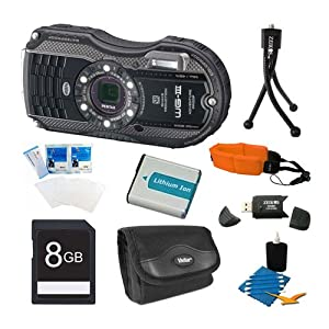 Pentax Optio WG-3 Black 16 MP Digital Camera (Black) Premiere Bundle Includes 8GB Memory Card, Reader, Battery, Case, Tripod, Floating Wrist Strap, Screen Protectors, & Lens Cleaning Kit.