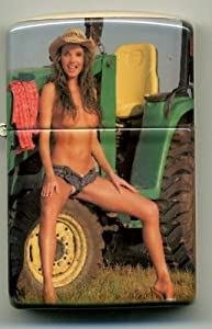 Topless Girl on John Deere Tractor - Cigarette Lighter - Cigars