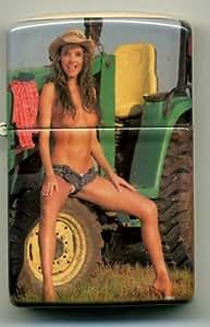 Topless Girl on John Deere Tractor - Cigarette Lighter - Cigars