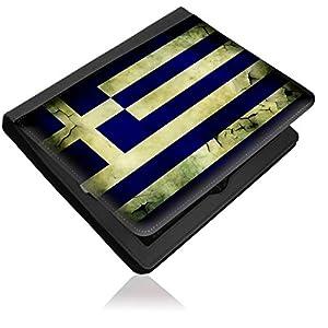 Flagge Griechenland 2, Weltkarte, Schwarz Leder Klap Case Cover Tasche Aufklappbar Lederhülle Flipcase mit Bunte Design für Apple iPad Mini.