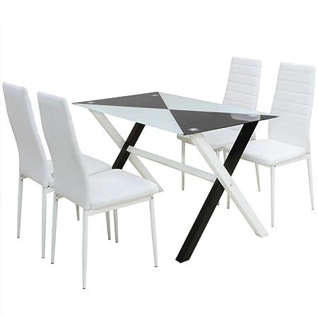 vidaXL Conjunto 1 Mesa y 4 Sillas de Comedor de Cuero Sintetico Blanco y Negro