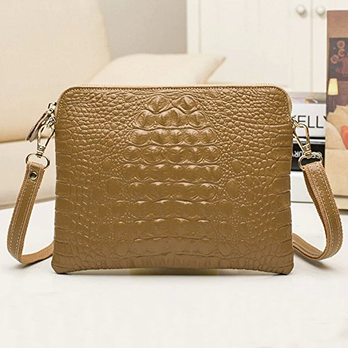Hot Women Genuine Leather Crocodile Clutch Envelope Purse Crossbody Bag Handbag-Khaki front-775059