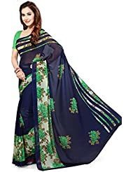 Ishin Faux Georgette Navy Blue Floral Printed Women's Saree.