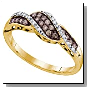 0.21 Carat Chocolate Brown And White Diamond 10K Yellow Gold Womens Ladies Wedding Anniversary Fashio