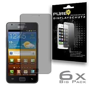 Pure² PureProtection 6x Displayschutzfolie matt für Samsung Galaxy S2 mit Anti-Glare Beschichtung (Keine Reflektionen und Spiegelungen) keine Fingerabdrücke mehr. Displayschutzfolie matt im 6er Pack.