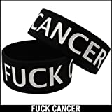 F*ck Cancer Rubber Saying Bracelet (Black)