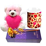 Love Gifts For Him - HomeSoGood Celebrate Valentine's Day Everyday White Ceramic Coffee Mug With Golden Rose & Teddy - 325 ml