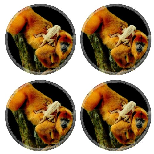 Monkey Ape Chimpanzee Baby Tree Branches Animals Round Coaster (4 Piece) Set Fabric Rubber 5 Inch Size Liil Coaster Cup Mug Can Water Bottle Drink Coasters Stain Resistance Collector Kit Kitchen Table Top Desk front-906518